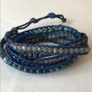 Jewelry - Blue Five Wrap Beaded Bracelet